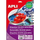 Etiquetas cd/dvd 117mm removible 25h