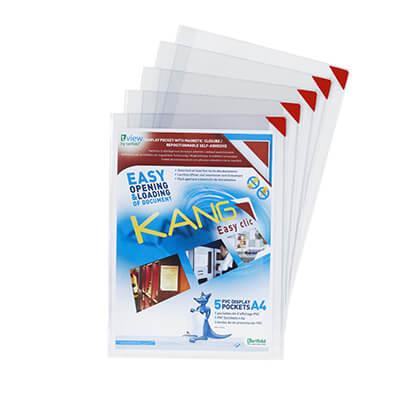 Pack 5 fundas kang easy click A4 adh. removible