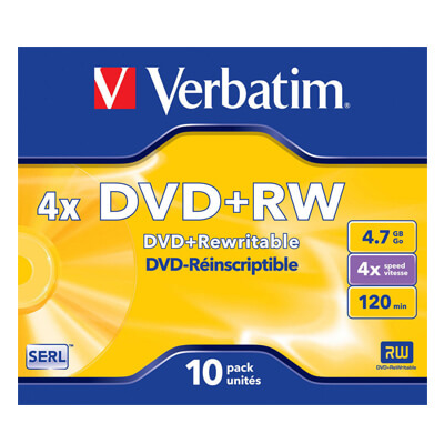 Pack de 5 DVD+rw Verbatim regrabable 4,7 GB