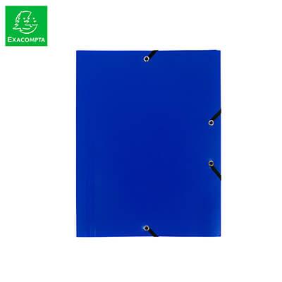 Carpeta con gomas 3 solapas polipropileno azul