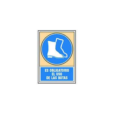 Placa aluminio A4 uso obligatorio botas seguridad