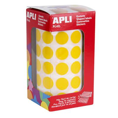 Rollo de gomets adhesivos 15mm amarillo