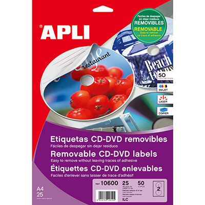Etiquetas cd/dvd 117mm removible 25h