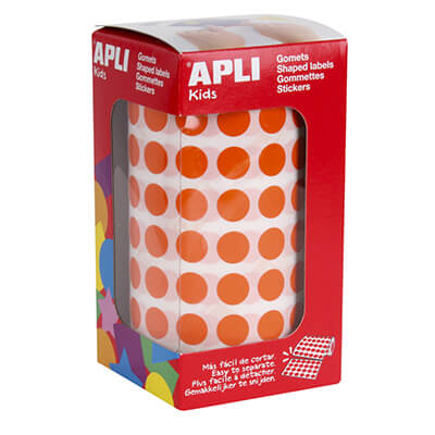 Estuche gomets Apli 10,5mm color naranja 5192 uds