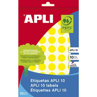 Sobre etiquetas adhesivas Apli-8 13mm amarillas