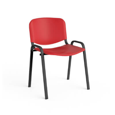 Silla con asiento y respaldo de pvc estruc. negra