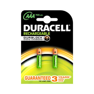 Pilas recargables Duracell AAA LR03 (pack 2 uds.)