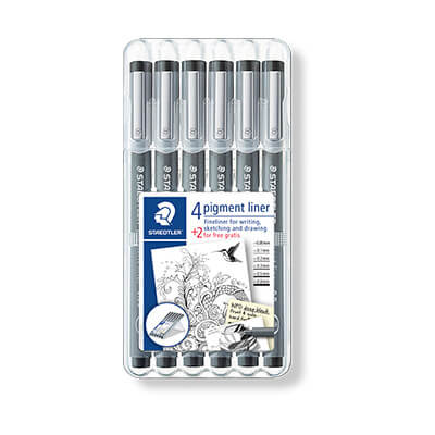 Pack 4 + 2 Staedtler pigment liner 308