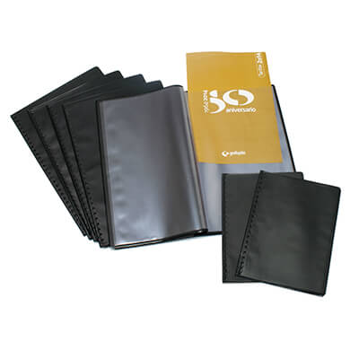 Carpeta 40 fundas flexible Folio negro