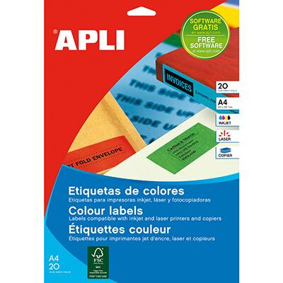 Etiquetas adhesivas A4 color amarillo 190x61mm