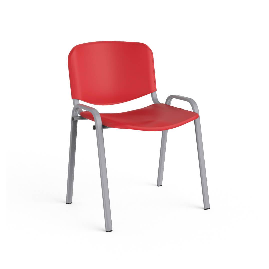 Silla con asiento y respaldo de pvc rojo - Silla sin respaldo ...
